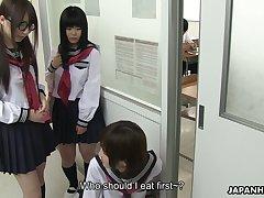 Japanese nympho Kaede Oshiro bangs one geeky dude in the men's room