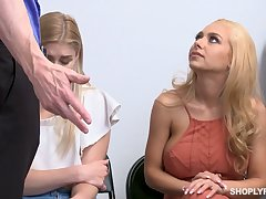 Blondie Nikki Peach and her lovely girlfriend are fucked be incumbent on shoplifting