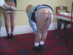 Two minority spanked,strapped,and caned on their barebottoms at the end of one's tether sultry teacher