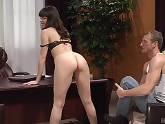 Elegant Dana Dearmond getting fucked in the office with horny dude