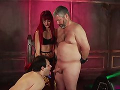 Spoiled Andi Rye makes two plump ugly dudes plough cocks