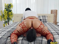 Heavy aggravation Latina riding his face with the addition of his fat dick
