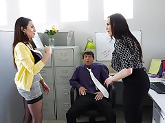hot secretary Ariella Ferrera enjoys a threesome with her brass hat