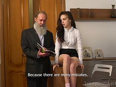 Bearded superannuated teacher fucks pulling sophomore student Milana Witch