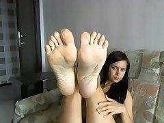 Girl Self foot Worship on Webcam