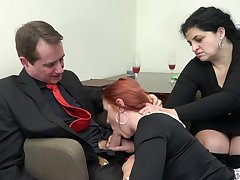 Redhead maid Anna Jelinkova fucked in front of the abode wife