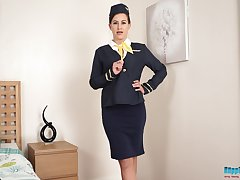 Lewd serving-girl in uniform Tindra Frost shows off mouth-watering pussy increased by chap-fallen legs in stockings