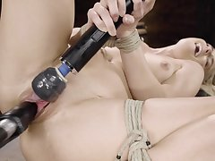 Fucking machine solo bondage by sensual Nikki Blow the gaff
