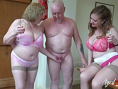 Two perverted old housewives bangs one clothes-horse living nextdoor