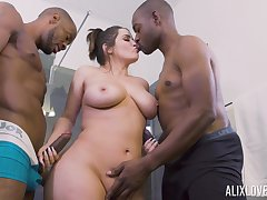 Stacked suitor Alix Lovell gives show out of to two hung funereal studs