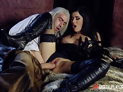 Intense hard sex for a brunette dame in sensual outfit