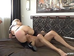Young pretty good wife have a hunch very perv, cuckold lover husband, two cock