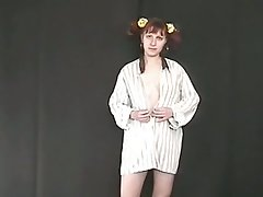 Pigtailed ginger nympho flashes her ugly circumference tits and her pissing personate