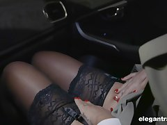Hot Russian indulge Anna Polina shows stockings upskirt to french policeman