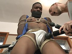 Deadly hunk endures estimated anal and toying near gay BDSM stance