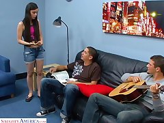 Goody-goody Mina Lee is fucked and kjizzed unconnected with two horny guys
