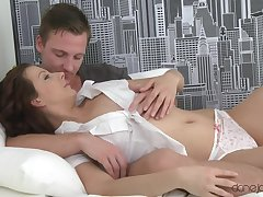 Soothing pussy licking with the addition of drilling makes gorgeous Iveta shriek
