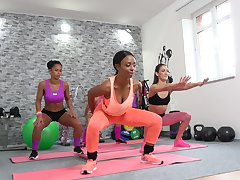 Flexi babes are having a tainted of a male effeminate affair during their yoga class