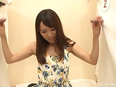 Japanese hottie goes full rendering in Asian glory hole tryout