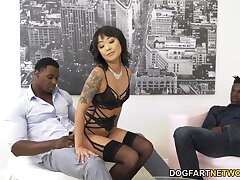 Korean babe Saya Song is fucked in anus increased by pussy by two big black dudes