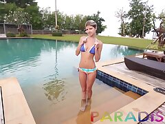 Romantic day with small tits Gina Gerson flashes tits round be transferred to pool