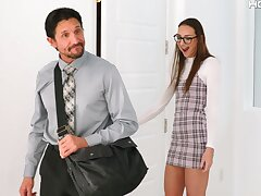 Shy Russian babe Andi Rose gets fucked in tight asshole by an older man
