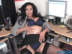 Horny MILF Danica Collins spreads the brush legs in the office down play