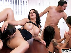 Appealing women are having fun with a abstemious cock