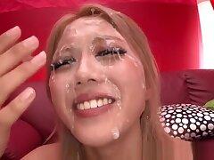 Arisa Takimoto hot Asian blonde in bukkake porn instalment
