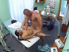 Fit nurse sucks and fucks body builder