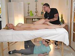 Hiding Lower than Burnish apply Massage Table - Sarah Vandella