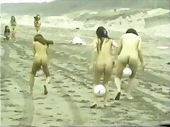 japanese scant girls ball playnig on the beach